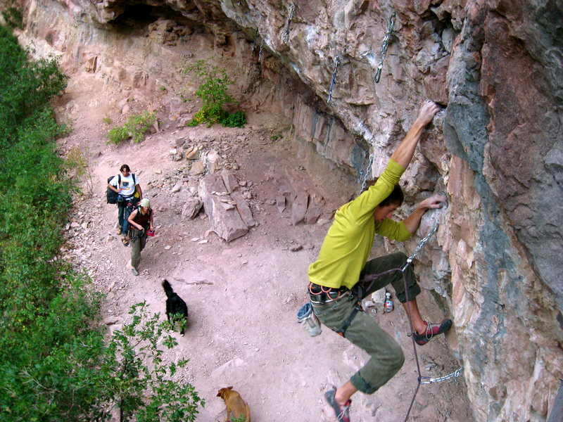 Rock Climbing Photo: Past the crux and into the easier stuff.