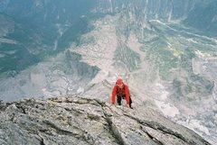 Rock Climbing Photo: Near the top of the Badile, North Ridge