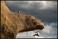 Rock Climbing Photo: Dave belays John on The Bill (Aid Route)  www.flic...