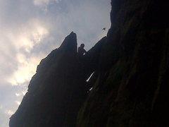 Rock Climbing Photo: Scotty on top of the 1st pitch.