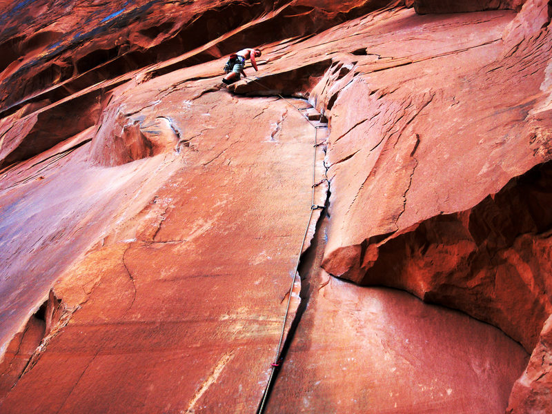 Atop a new fav crack in Moab.  Zipped up.