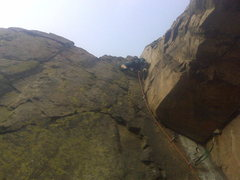 Rock Climbing Photo: Scotty at the crux section of P2. Stellar, left-fa...
