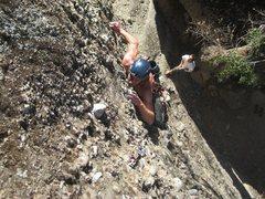 Rock Climbing Photo: Aaron, cranking his way up Danny Boy