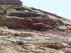 Rock Climbing Photo: Bathook traverse under the roof on P3.