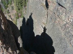 Rock Climbing Photo: Summit shadows cast on the wall behind the tower p...