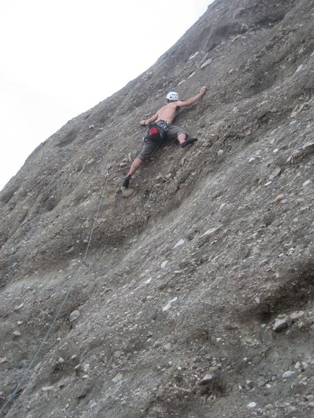 """Erik at the crux of Dark Star, not seeing the """"dyno up and left"""" opts for a rather tricky stem move."""