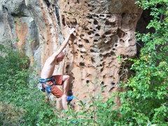 Rock Climbing Photo: warming up in penitente canyon