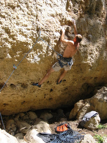 crankin the 1st crux on the barney route<br> tensleep canyon, wy<br> 12a