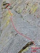 Rock Climbing Photo: The line, with the upper section greatly foreshort...