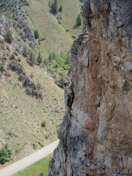 Phil King enjoying the second ascent of The Albus Dumbledore Memorial Route