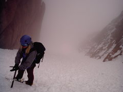 Rock Climbing Photo: Nancy fogged in on the Y-Col.