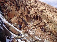 Rock Climbing Photo: Nancy working through the Hero's Traverse.