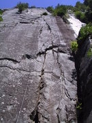 Rock Climbing Photo: Foreshortened view of the first 2 pitches of Flow....