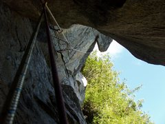Rock Climbing Photo: View from the chimney on P5, taken while cleaning ...