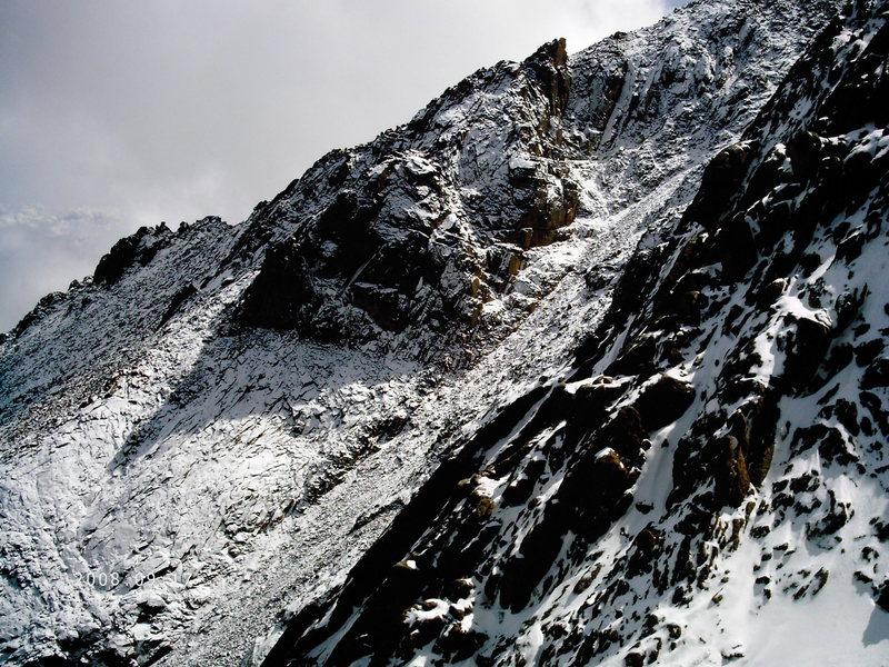 Hero's traverse after a fresh snowfall.