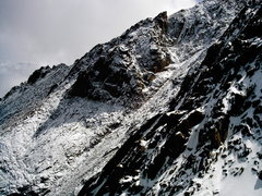 Rock Climbing Photo: Hero's traverse after a fresh snowfall.