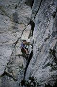 Rock Climbing Photo: Kim Miller on start of the Open Book
