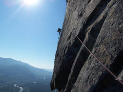 Rock Climbing Photo: Drilling on pitch 5.