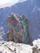 Rock Climbing Photo: Descent from the left hand spire on Notchtop, both...
