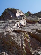 Rock Climbing Photo: Starting the first crux--moving left around the ar...