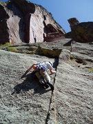 Rock Climbing Photo: On the last hard moves on P2. P2 felt harder to us...