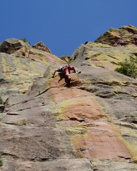 Rock Climbing Photo: The reach at the second bolt on the arête (5th bo...