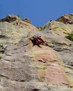 Rock Climbing Photo: Hand traversing right to set up the move at the se...
