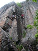 Rock Climbing Photo: Stemming butt shot. The crux of Slim Pickins(R) an...