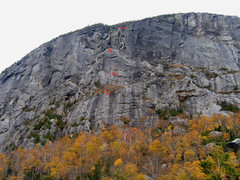 Rock Climbing Photo: Track of the route in white, rappel stations in re...