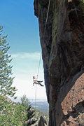 Rock Climbing Photo: Brenda on the long, vertical second rappel.