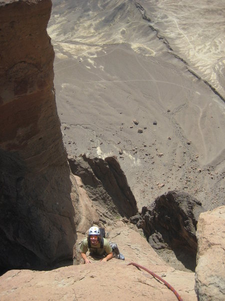 Yours truly climbing the Horn pitch