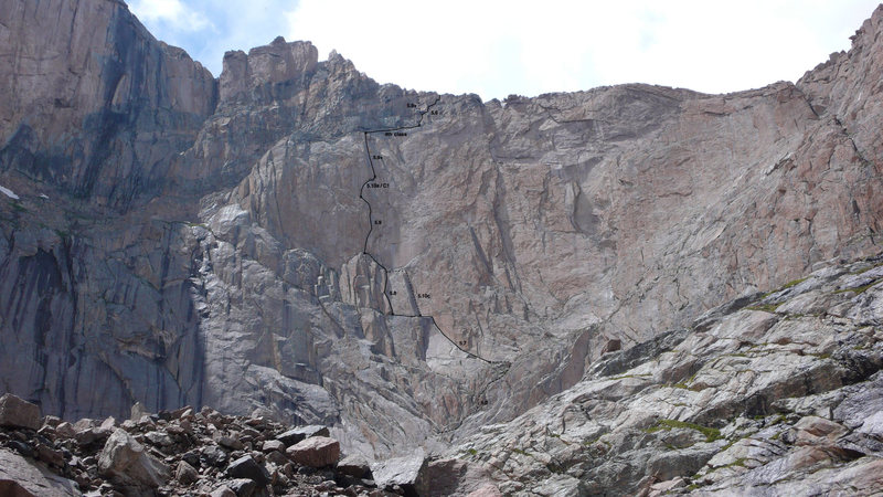 """Chasm View wall from the bivy boulders above Chasm Lake. The track of """"Red Wall"""" is shown in black, with the approach and the variations (dotted line)."""