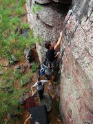 Rock Climbing Photo: Isaac Therneau in the crux of Vivisection.  Sept 0...