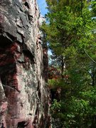 Rock Climbing Photo: High up on Vivisection, climber Isaac Therneau, Se...