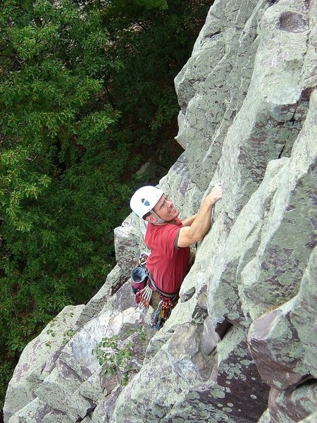 Flashing Vivisection on a beautiful fall day, Sept 09.  Nearing the top.  Photo: Matt Satermo.