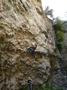 Rock Climbing Photo: Working through the higher crux of Moat Pump. Sept...