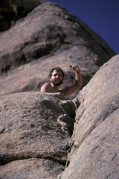 Rock Climbing Photo: Mike Kurilich at the top of his first lead 1987 - ...