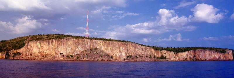 Late morning view of Palisade Head from the Lake (Jim Craighead's sailboat). September 2009.
