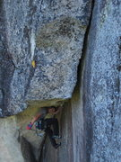 Rock Climbing Photo: Matt Ritter in the meat of the pitch. No stopping ...