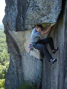 Rock Climbing Photo: Matt Ritter nearing the end of the Bridge.  Photo ...
