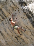 "Rock Climbing Photo: BJ climbing the testpiece linkup ""Genetic Dri..."