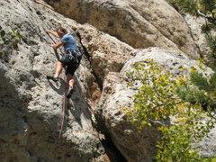 Rock Climbing Photo: Finishing up the headwall on positive pockets.
