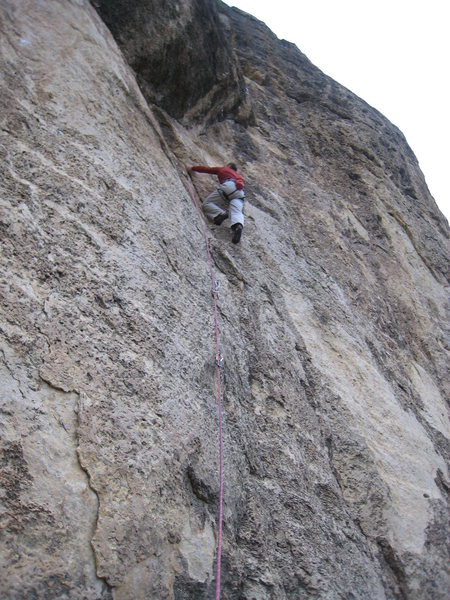 Rock Climbing Photo: Heading up towards the arching roof of Storm Warni...