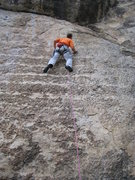 Rock Climbing Photo: Working up the difficult slab of Spike N' Vein.