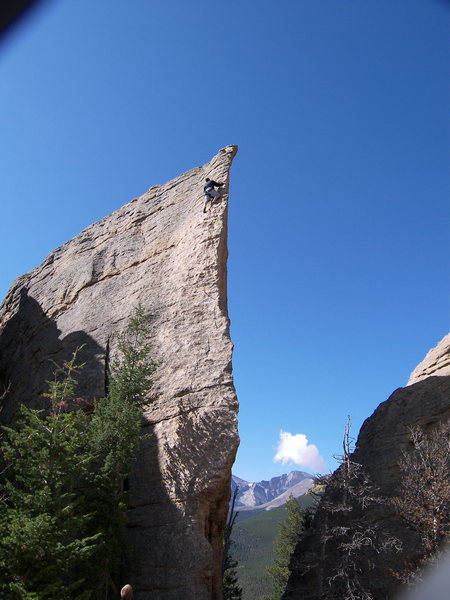 Rock Climbing Photo: The Edge of Time with Longs in the Background