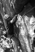 Rock Climbing Photo: Adam Working hard at the crux and eyeing the jug.....
