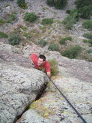 Rock Climbing Photo: Tommy passing through/around the second crux of th...