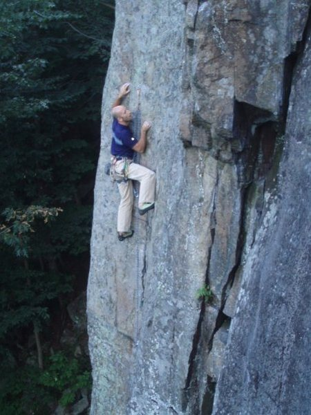 Rock Climbing Photo: The thin crux at about mid-height on the route.