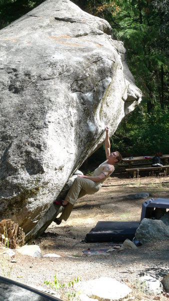 Rock Climbing Photo: Jared Lavacque warming up on Hate Monger V3 at Swi...