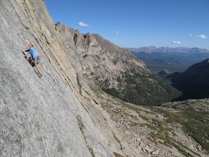 """Spicy runout slab on """"Sykes Sickle"""", Spearhead, RMNP."""